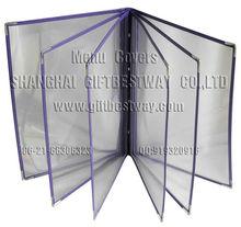 A4 leather menu covers ,clear plastic menu covers