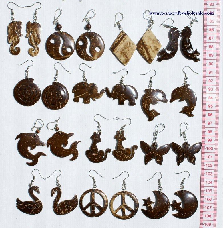 Talladas a mano de coco pendientes tribales Natural de la joyería