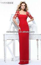 Modern Bateau Neck Backless Handmade Flowers Beaded Chiffon Long Red Evening Dresses With Half Sleeve