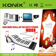 88 Keys USB Rubberized Flexible Roll up Roll-up Electronic Piano Keyboard/MIDI Soft Keyboard Piano