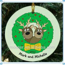 Fashion Deer Printing Glass Christmas Hanging Decorations