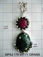 Silver Ruby/Emerald/Pearl Pendant