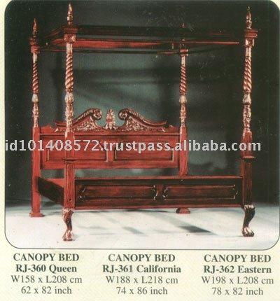 Canopy Bed Mahogany Indoor Furniture