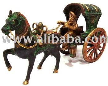 Antique Brass Horse Cart