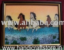 Five Horses, Gem Stone Painting, Art & Craft of Jaipur, India