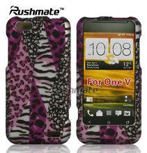Pink Hard Zebra Design Case Cover Skin Faceplate for HTC ONE V
