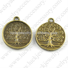 alloy embossed tree round coin charms