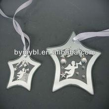 ORNAMENT - CLEAR STAR ANGEL,glass star ornament