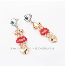 E98016 Vintage Unique Design Lip and Evil Eye Earrings
