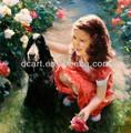 chica con el perro de pinturas al óleo
