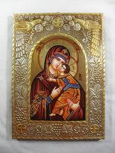 Hand Painted on wood Orthodox icon Virgin Mary & Jesus