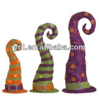 RAZ Whimsical Striped Witch Hat Halloween Decoration Set of 3