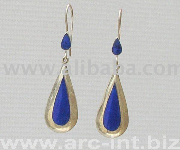 pakistan afghanistan modern fashionable Lapis Lazuli Silver womens Jewelry Earrings with gemstones