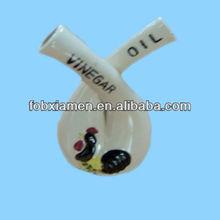 Vintage Crossed Neck Rooster Vinegar And Oil Ceramic Cruet