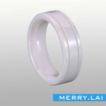 fashion comfort fit white ceramic ring with gold line OEM&ODM jewelry factory 8years (MA-130716-21)