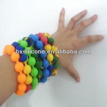 BPA free & Food grade silicone round beads,silicone bead bangle,bead bangle