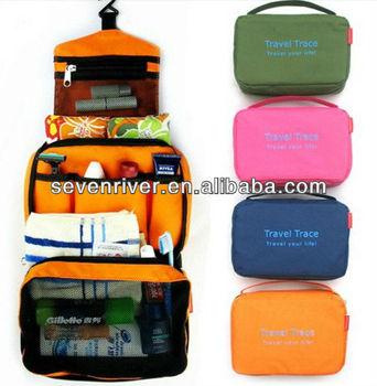 New Design Print Hanging Toiletry Bags/Travel Zipper Rround Makeup Organizer Bags/Handle Cosmetic Bag For Men