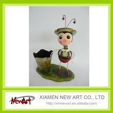 garden ladybug ornament metal basket, flower pot