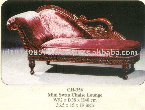 Mini Swan Chaise Lounge Kids Furniture Mahogany Indoor Furniture