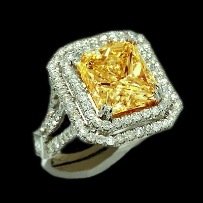 Canary Diamond Engagement Rings on Details  5 Carats Fancy Yellow Canary Diamond Engagment Ring New