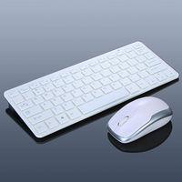 Ultra-Slim Mini 2.4G Wireless Keyboard + Mouse Kit for Laptop PC Desktop White