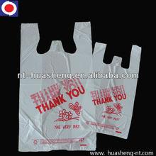 white printed plastic handle shopping bag