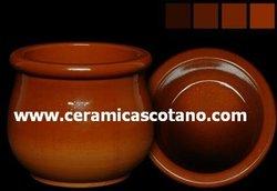Food ceramic terracotta container (yogurt, honey, pate, cheese, etc)