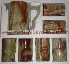 Onyx Water Sets and Glasses, Marble Water Sets and Glasses, Stone Water Sets and Glasses