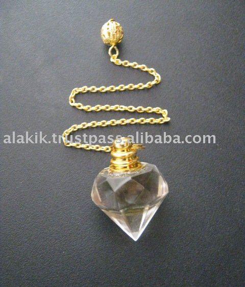 Dowsing Pendulum : Crystal Quartz Diamond Pendulum