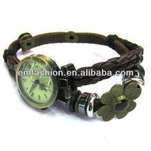 Vintage genuine leather quartz watch cow leather jewerly bracelet watch