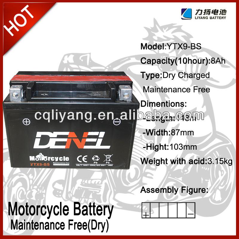 70cc motorcycle engine parts/motorcycle parts japan ytx9 12V 9AH (YTX9-BS)