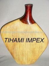 Decorative Aluminium Vases in Wooden Finish, Home Decor, Metal Vases