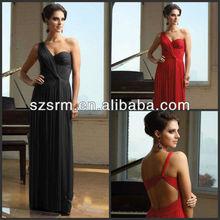 Designer Inspired A-line Floor Length Sweetheart One Shoulder Sleeveless Pleat Chiffon Prom Dresses New Fashion 2013