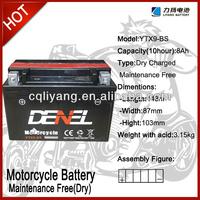 high capacity storage battery/motorcycle parts japan ytx9 12V 9AH (YTX9-BS)