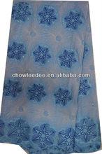 CL4007-2 Newest 100% cotton 5 yards blue rhinestone fashion lace fabric