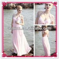 ED-2018 Elegant cap sleeves low v neckline pink beach wedding dresses flowing chiffon long beach dresses