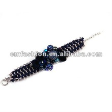 2012 winter fashion costum suede and chains bracelet with beads