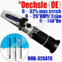 MULTIFUNCTION Oechsle REFRACTOMETER 190 Oechsle 38 KMW 0~44% Saccharose Brix Sugar Wine