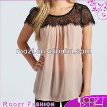 Lace Trim Chiffon Blouse Neck Design of Blouse