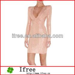 trendy club dress shining long sleeve V-neck pink bandage dress