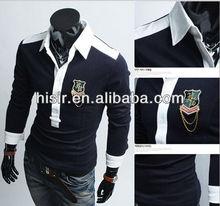 2012 new fashion personality mixed colors Men's Slim POLO shirt P03 badge