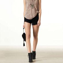 Mini black sexy girls high waisted jean shorts wholesale,OEM service