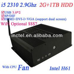 i5 mini pc with H61 chipset intel HD 2000 Graphic GPU 2G RAM 1TB HDD with intel core i5 2310 2.9Ghz CPU black alluminum case