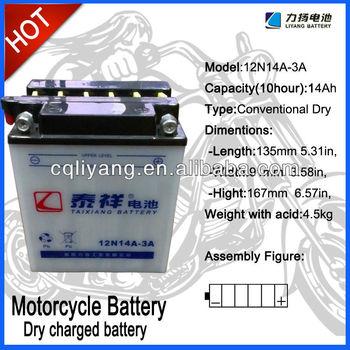 Made in china and export at zhejiang/shanghai/chongqing/guangzhou ports of motorcycle battery 12v 14ah