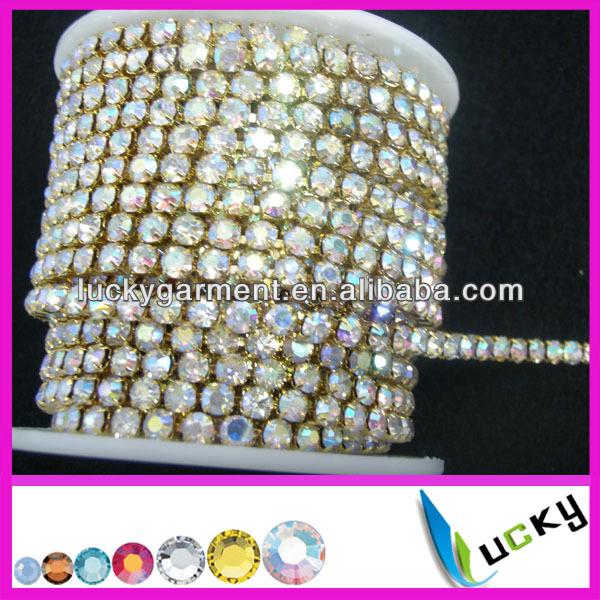 super close rhinestone cup chain ss16 crystal ab silver base