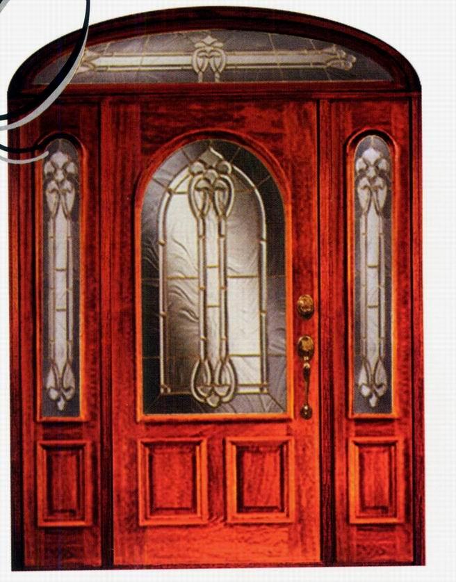 De entrada de madera con puerta inserta camed de vidrio for Puertas de entrada con vidrio