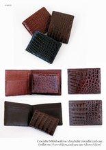 Men Crocodile billfold wallet w/detachable card case