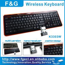 Hight quality 2.4G ergonomic wireless keyboard with CE/ROHS/FCC ID