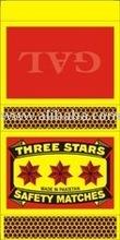 Three Star Safety Matches (Slim Size)