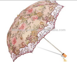 Hot sale trendy dot pattern with lace ladies umbrella